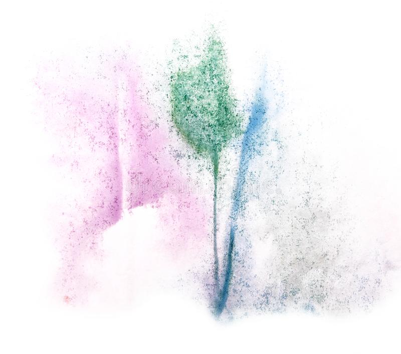 Art watercolor ink paint blob watercolour splash colorful stain. Isolated green, purple, blue on white background texture royalty free stock photography