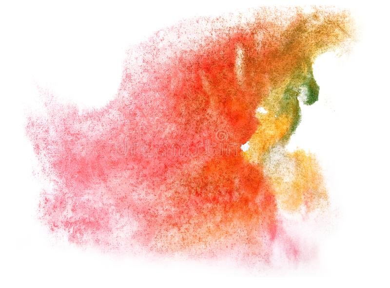 Art watercolor ink paint blob watercolour splash colorful stain. Pink, green, red, yellow isolated on white background texture stock images
