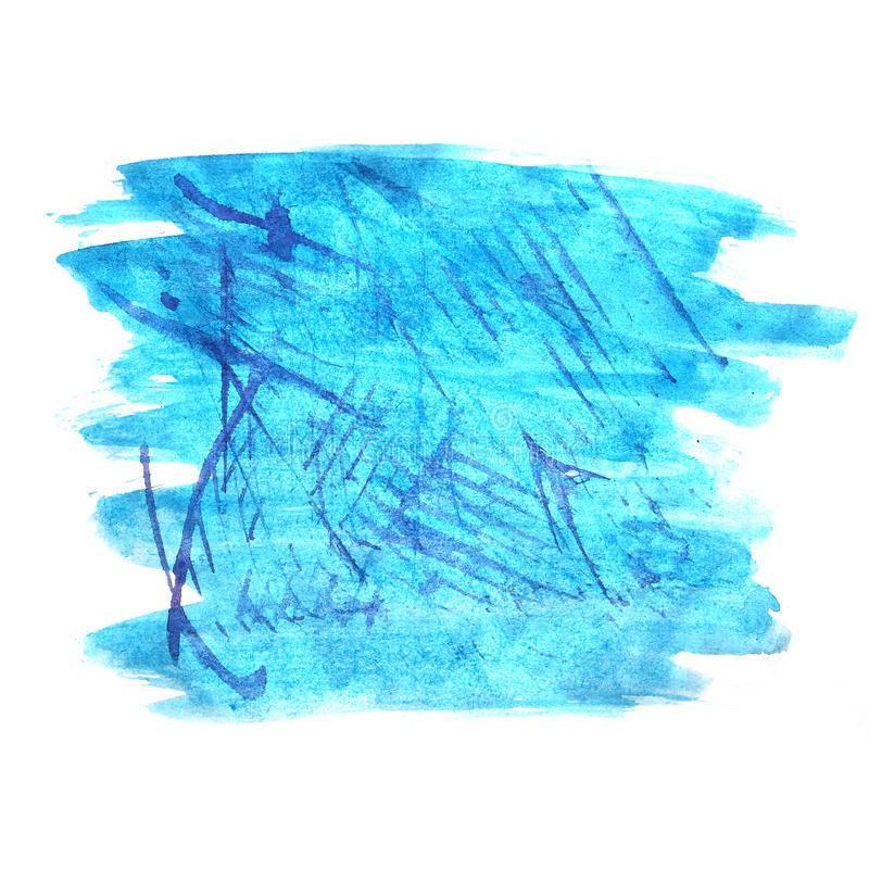 Art watercolor ink paint blue blob watercolour. Splash colorful stain isolated on white background texture royalty free stock photos