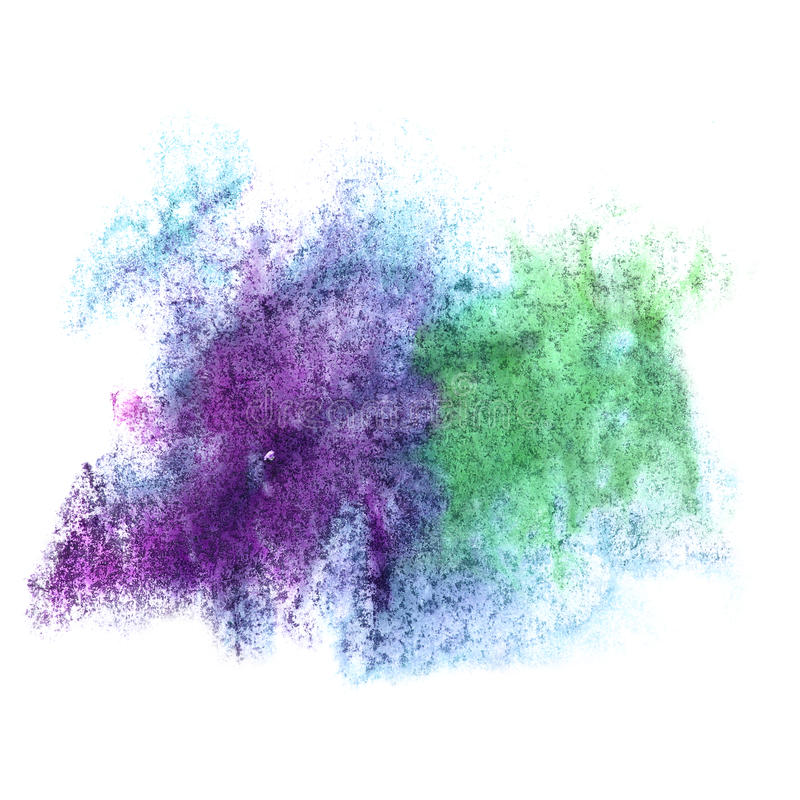 Art watercolor ink paint blue green blob. Watercolour splash colorful stain isolated on white background texture royalty free stock images