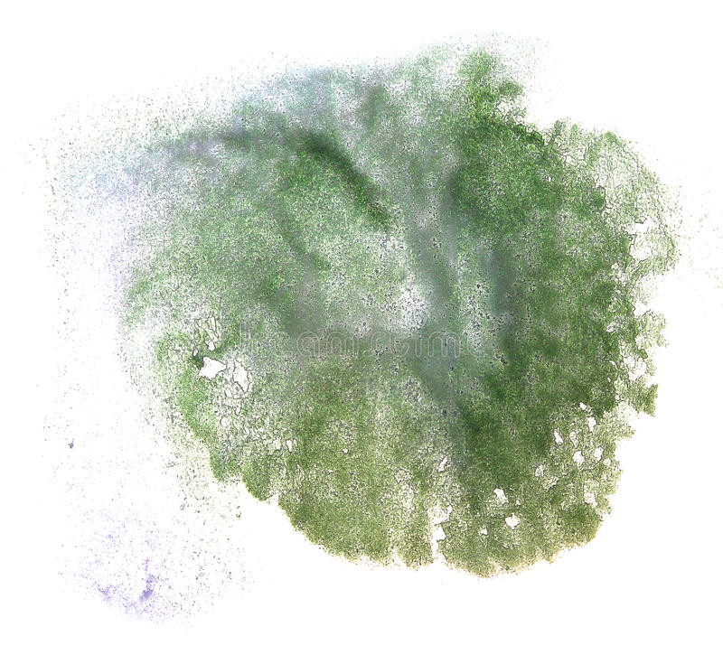 Art watercolor ink paint green blob watercolour. Splash colorful stain isolated on white background texture royalty free stock photos