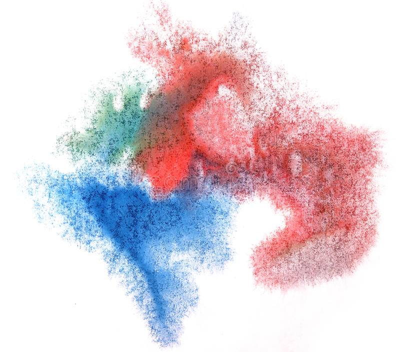Drawing Red Lines With Green Ink : Art watercolor red blue green ink paint blob stock image