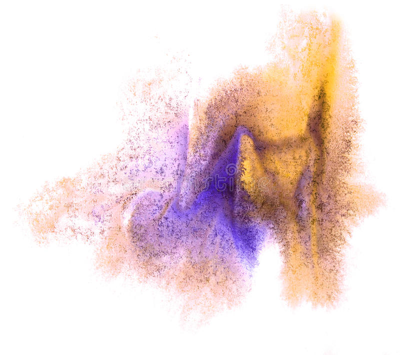 Art watercolor yellow, purple ink paint blob. Watercolour splash colorful stain isolated on white background texture royalty free stock image