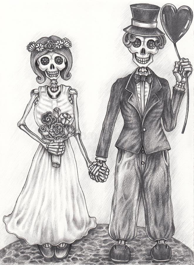 Art wedding skull day of the dead. vector illustration