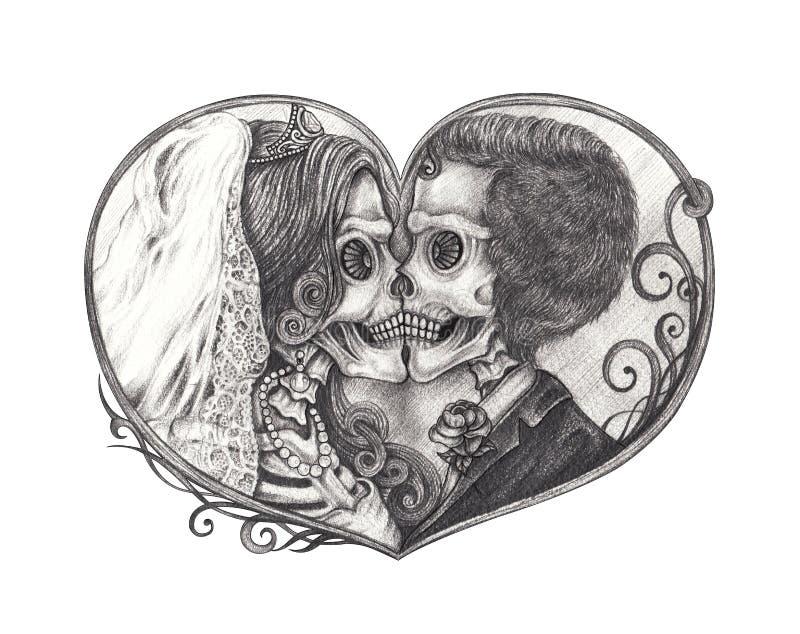 Art Wedding Skull Tattoo. vector illustration
