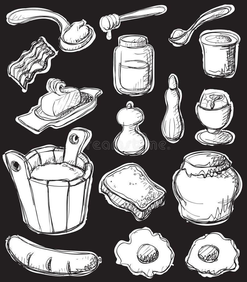 Art-Weißset des Frühstücks grafisches lizenzfreie abbildung