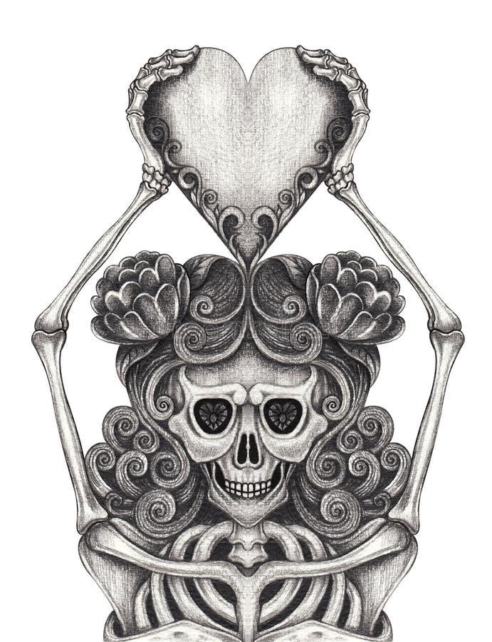 Art Women Skull mantém a tatuagem do coração ilustração royalty free