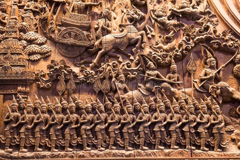 Art of wood carving details threads is character mythology royalty free stock photography