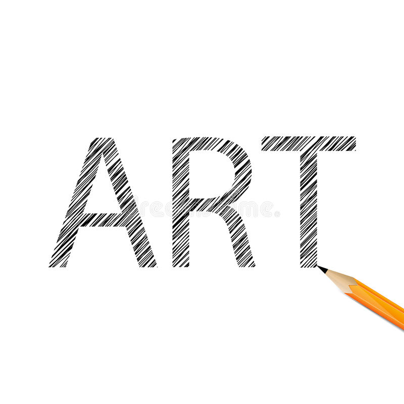 art word drawn with graphite pencil stock vector
