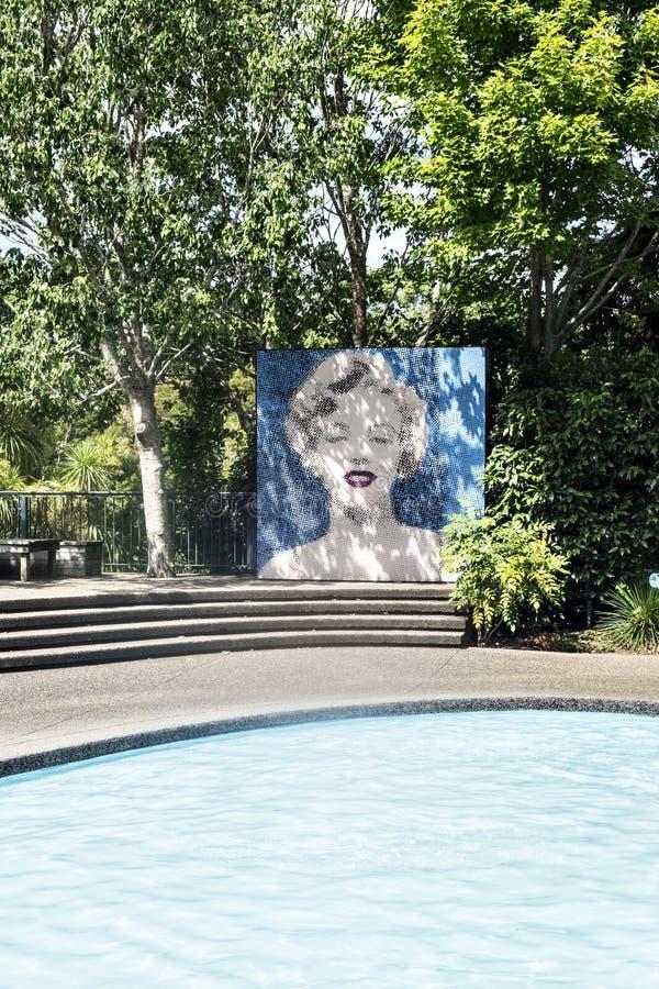 Marilyn Monroe Image at Modernist Garden Hamilton Gardens New Zealand NZ royalty free stock images