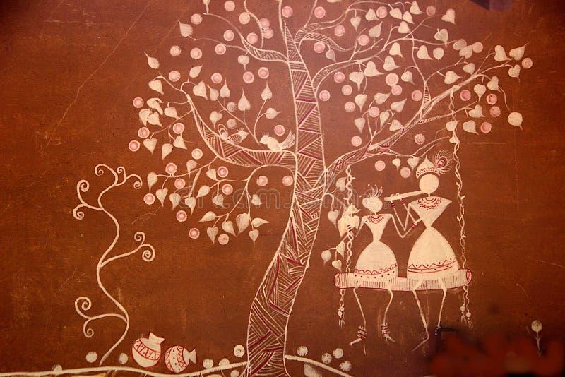 Art Work på väggen på Madhu Vana, Bengaluru royaltyfria bilder