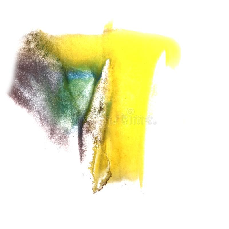 Art Yellow, green, black, blue watercolor ink paint blob waterco. Lour splash colorful stain isolated on white background royalty free stock image