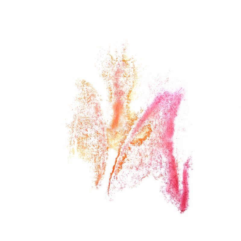 Art Yellow, pink watercolor ink paint blob watercolour splash co. Lorful stain isolated on white background stock photo