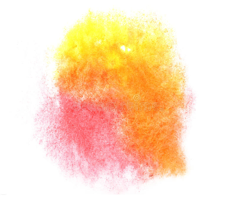 Art yellow, red watercolor ink paint blob. Watercolour splash colorful stain isolated on white background texture stock photo