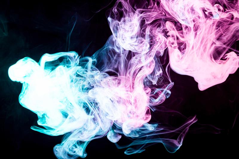 Mocap for art. ART for your design project. Transparent creativity. Abstract art colored smoke on black isolated background. Stop the movement of multicolored royalty free stock image