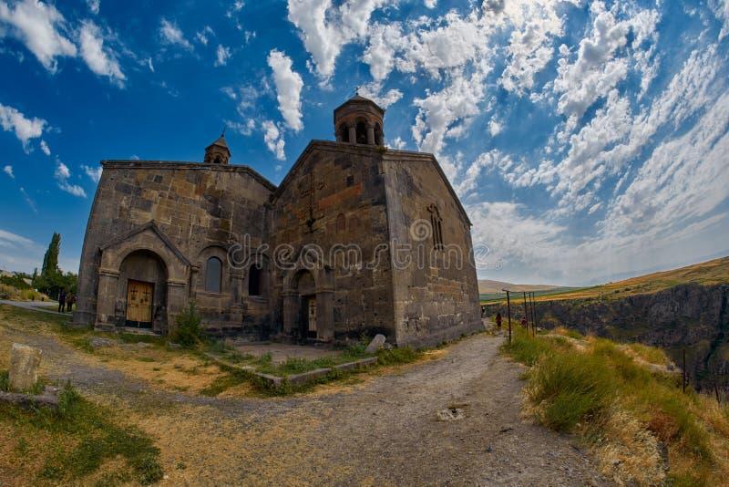 ARTASHAVAN, ARMENIEN - 6. AUGUST 2017: Saghmosavank-Kloster stockbilder
