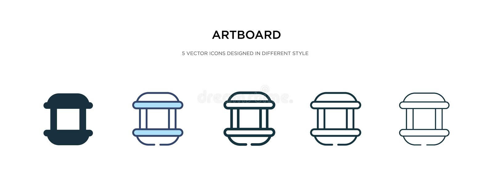Artboard icon in different style vector illustration. two colored and black artboard vector icons designed in filled, outline,. Line and stroke style can be vector illustration
