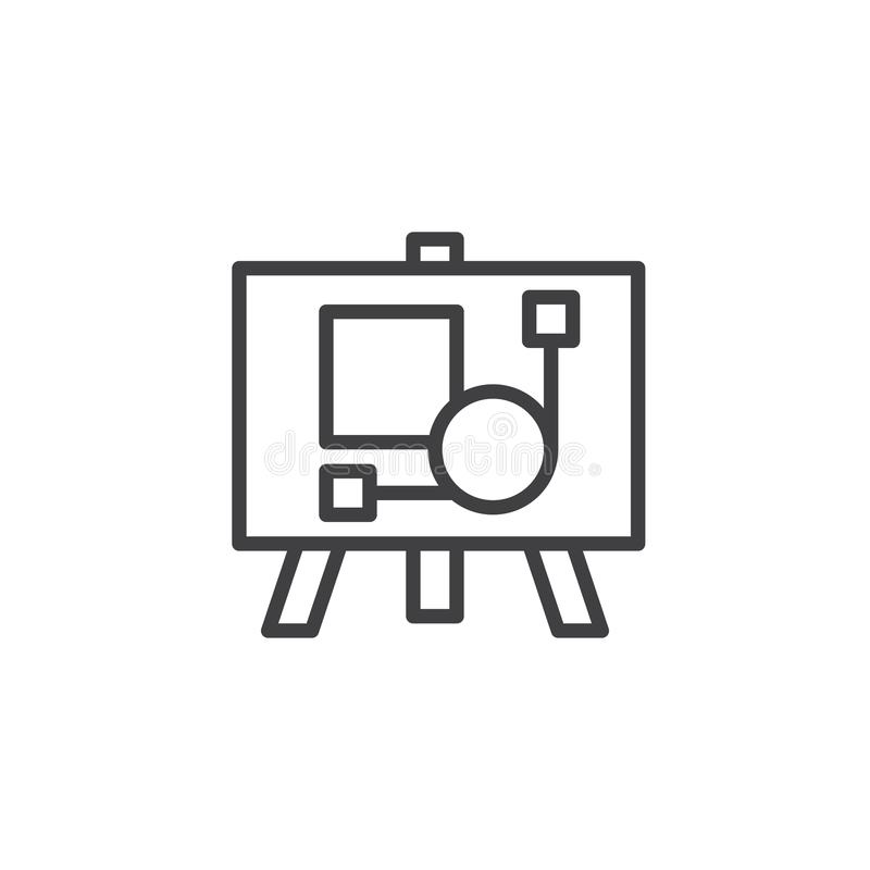 Artboard outline icon. Linear style sign for mobile concept and web design. Easel with picture simple line vector icon. Symbol, logo illustration. Pixel royalty free illustration