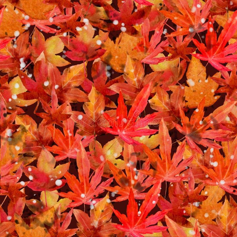 Artcollage des orange Rotes des Aquarellmalereiblattahorns vereinbarte in einem Muster stock abbildung