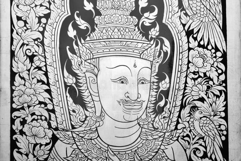 Arte, Ásia, fundo, pássaro, preto, budista, canv fotografia de stock royalty free