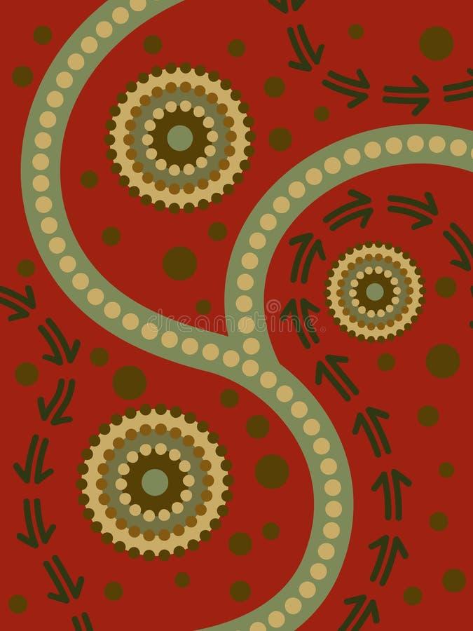 Arte aborígene abstrata ilustração stock