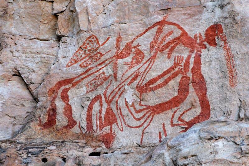 Arte aborígene da rocha fotografia de stock royalty free