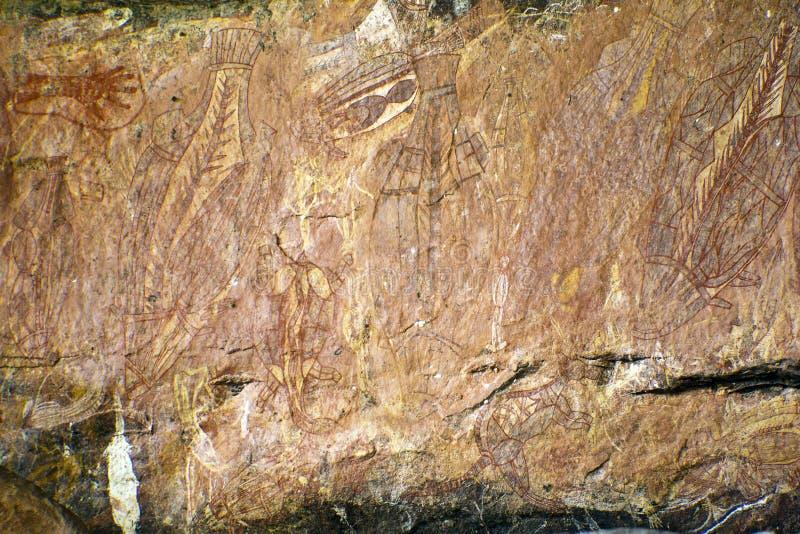 Arte aborígene da rocha fotografia de stock