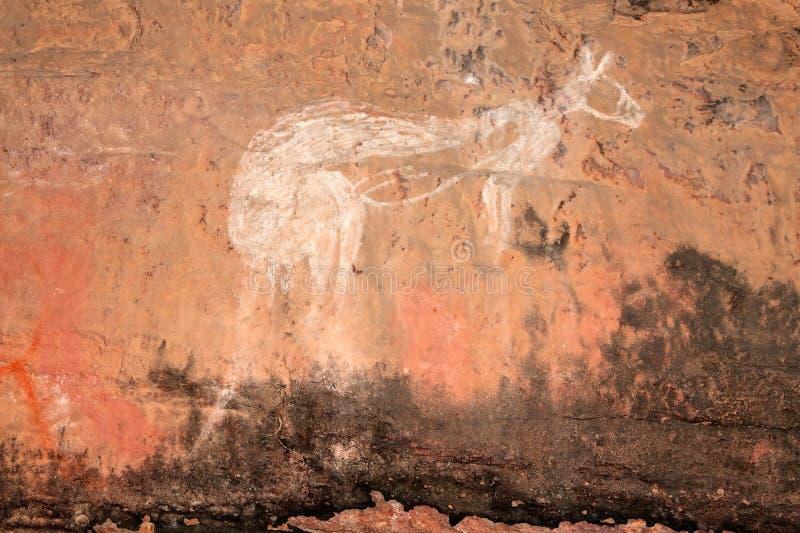 Arte aborígene da rocha, Austrália fotografia de stock