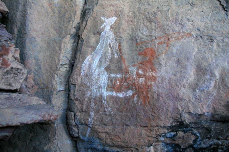 Arte aborígene da rocha - Austrália imagem de stock