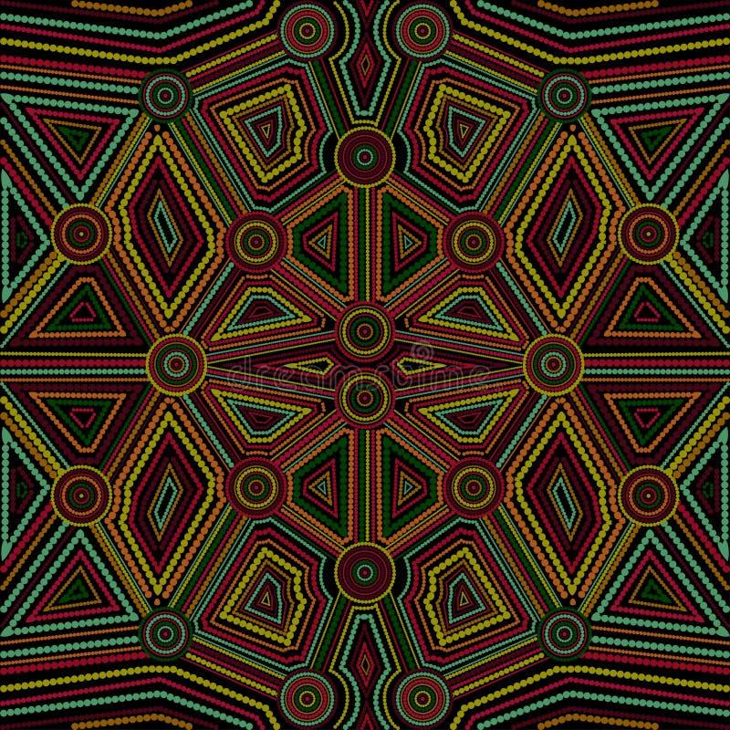 Arte aborigen australiano Arte del punto Modelo geométrico Modelo inconsútil Opción multicolora ilustración del vector