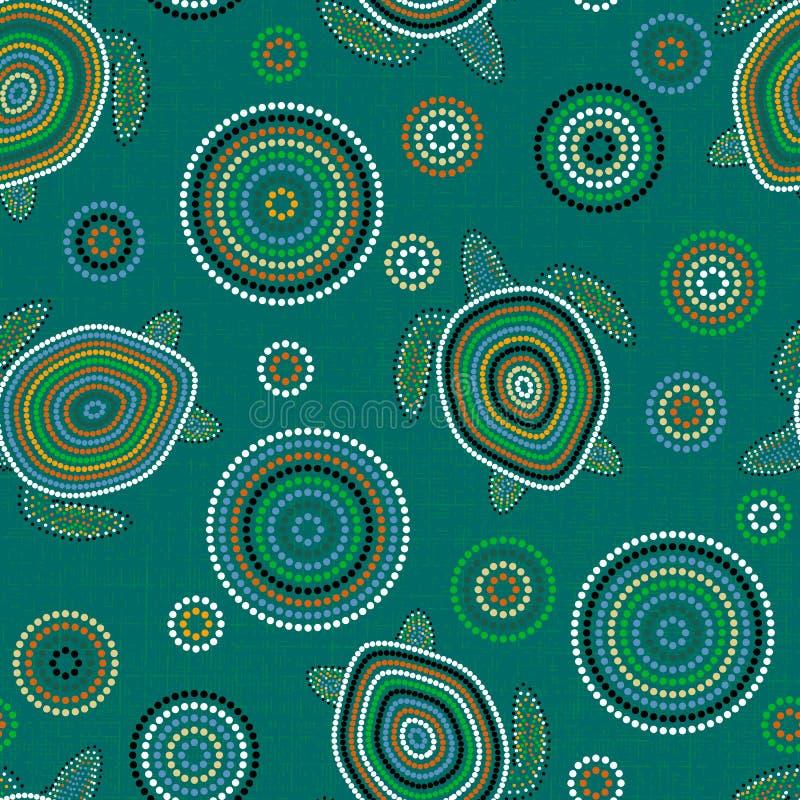 Arte aborigen australiano Tortugas de mar Modelo inconsútil Verde del fondo libre illustration