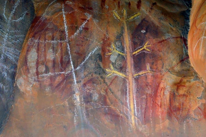 Arte aborigen de la roca foto de archivo
