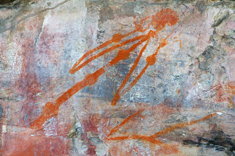Arte aborigena della roccia fotografie stock