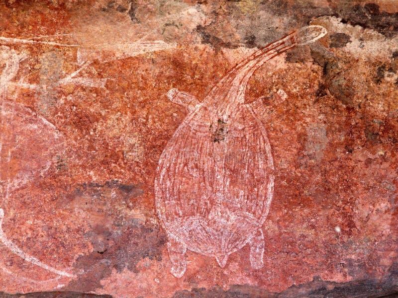 Arte aborigena della roccia immagini stock libere da diritti
