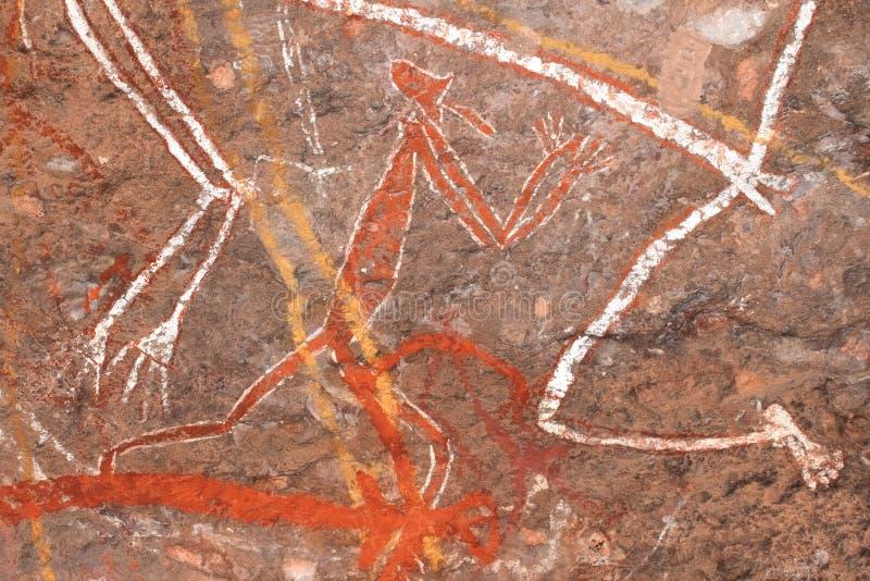 Arte aborigena della roccia immagini stock