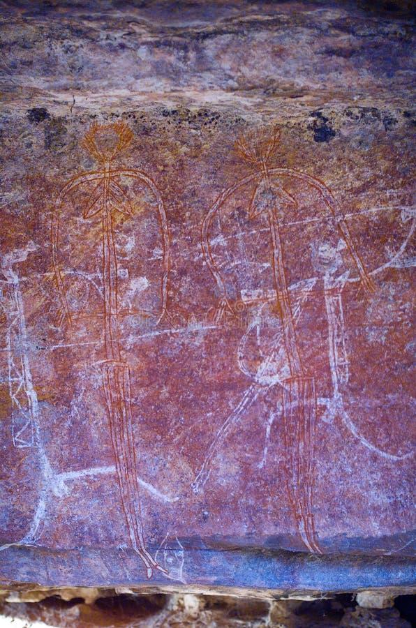 Arte aborigena della roccia immagine stock libera da diritti