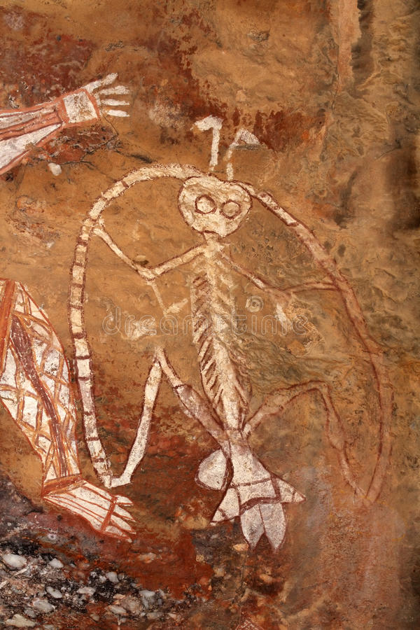 Arte aborigena della roccia fotografie stock libere da diritti