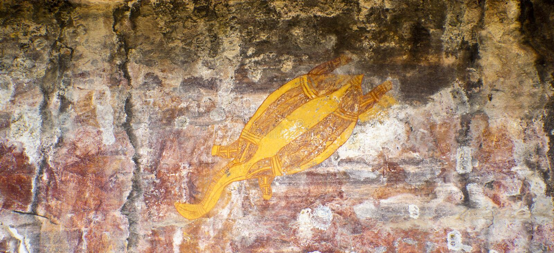Arte aborigena della roccia immagine stock
