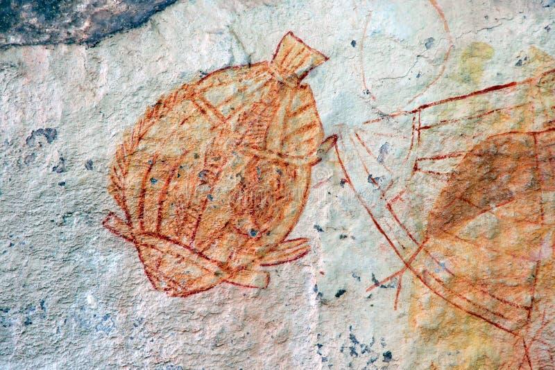 Arte aborigena della roccia, Australia fotografie stock libere da diritti