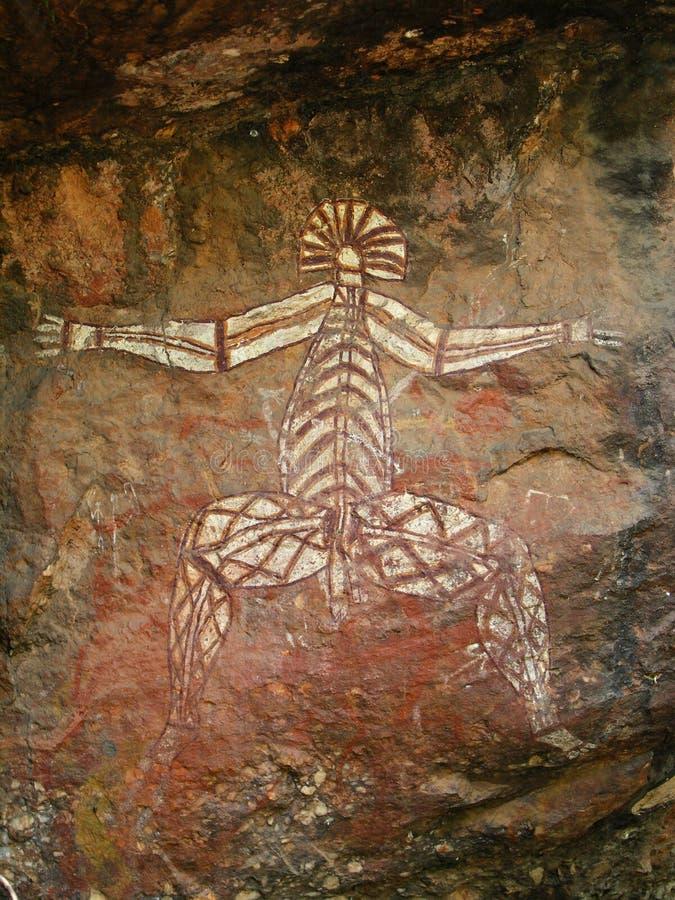 Arte aborigena della roccia - Kakadu immagine stock
