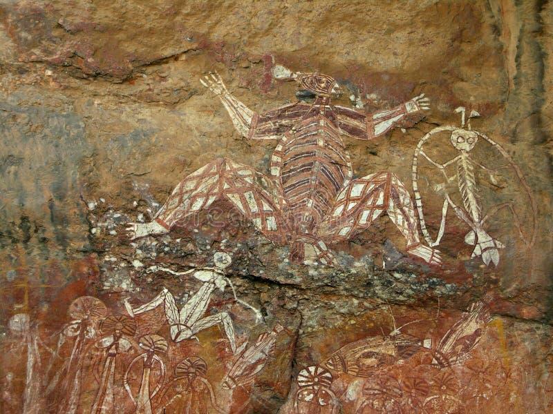 Arte aborigena della roccia - Kakadu fotografia stock libera da diritti