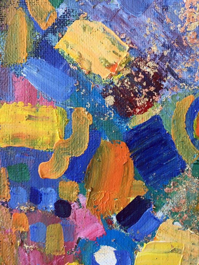 Arte abstracto de la pintura del otoño con texturas naturales del acrílico en la lona libre illustration