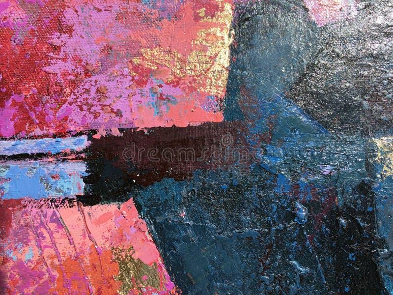 Arte abstracto de la pintura de la puesta del sol con texturas naturales del acrílico en la lona stock de ilustración