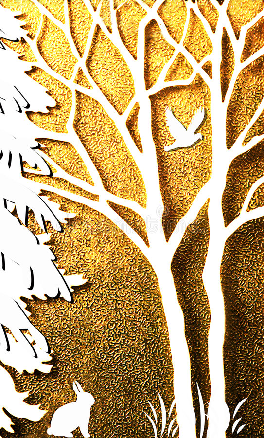 Arte abstrata, coelho e pássaro, primavera imagem de stock