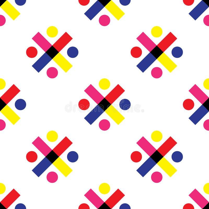 Arte abstrata colorida do projeto do fundo geométrico sem emenda do vetor do teste padrão com círculos em volta dos pontos e cruz ilustração stock