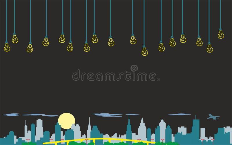 Arte abstrata da parede, vetor original da imagem da noite da cidade do papel de parede ilustração stock
