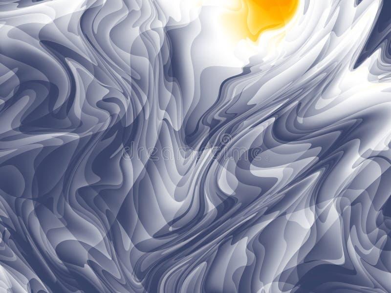 Arte abstrata moderna alaranjada do fractal do branco cinzento Ilustração escura do fundo com um teste padrão caótico Molde gráfi ilustração royalty free