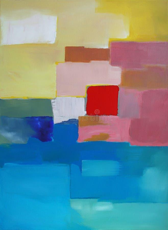 Arte abstrata moderna - pintura - paisagem ilustração stock