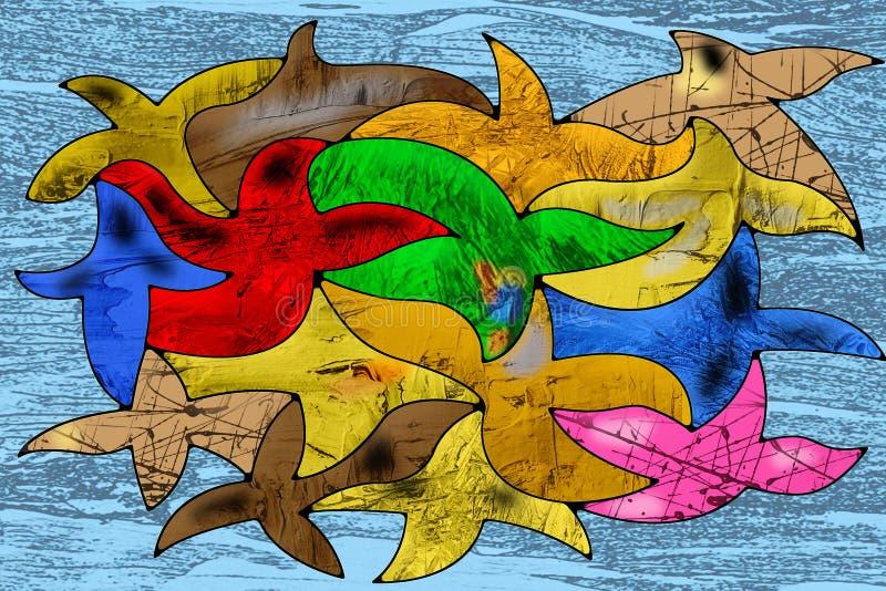 Arte abstrato dos pássaros de voo, textura, fundo ilustração stock