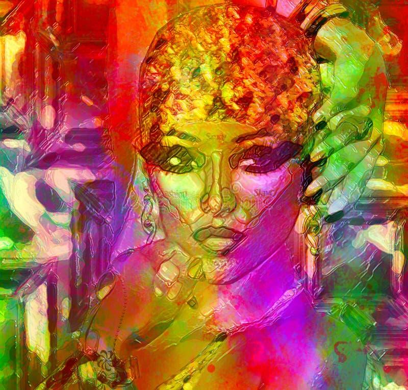 Arte abstrato, efeito de gel da cara da mulher ilustração do vetor